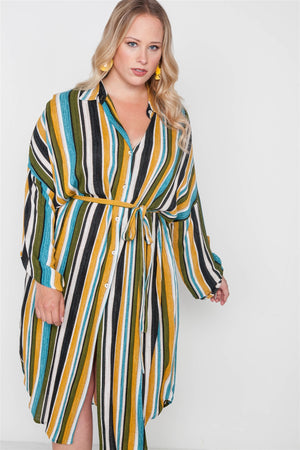 Plus Size Stripe Button Down Shirt Dress - Debbie Carter Fashion HQ