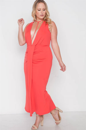 Plus Size Red Deep V-neck Strap Detail Maxi Dress - Debbie Carter Fashion HQ