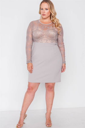 Plus Size Combo Lace Long Sleeve Dress - Debbie Carter Fashion HQ