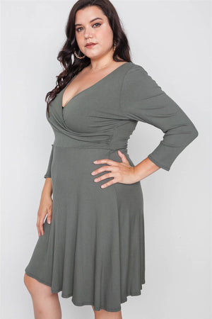 Plus Size Ribbed V-neck Dress - Debbie Carter Fashion HQ