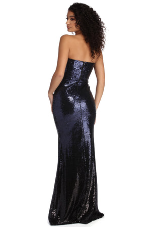 MICHELLE FORMAL STRAPLESS SEQUIN DRESS - Debbie Carter Fashion HQ