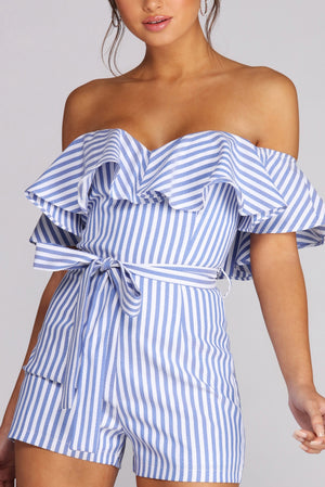 RUFFLED AND STRIPED ROMPER - Debbie Carter Fashion HQ