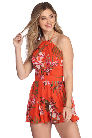 TROPIC CUTIE FLORAL ROMPER - Debbie Carter Fashion HQ