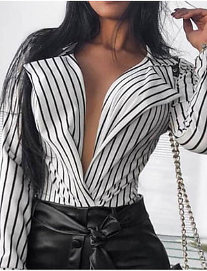 New Arrival Blouses Women's Slim Blouse - Solid Colored Shirt Collar White M Blusas Mujer Chemise Femme - Debbie Carter Fashion HQ