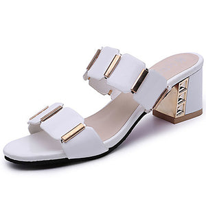 Women's Sandals Chunky Heel Open Toe Plaid PU(Polyurethane) Comfort Summer White / Black / EU39 - Debbie Carter Fashion HQ