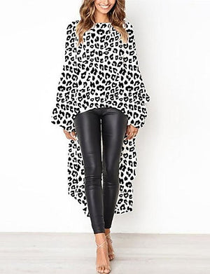 Women's Flare Sleeve Asymmetrical Loose A Line Dress - Leopard Print Spring White Yellow - Debbie Carter Fashion HQ