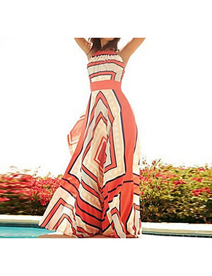 Women's Holiday Maxi Loose Dress - Striped Print High Waist Halter Neck Summer Red - Debbie Carter Fashion HQ