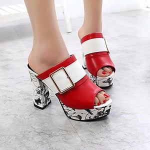 Women's Sandals Chunky Heel PU(Polyurethane) Comfort Summer White / Black / Red / EU39 - Debbie Carter Fashion HQ