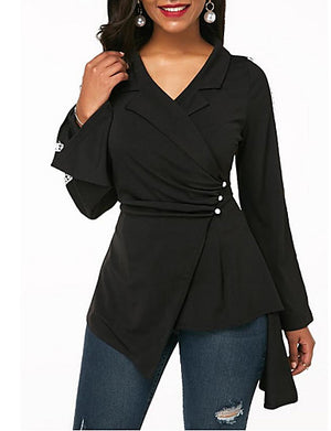Women's Daily Wear Shirt - Solid Colored Black - Debbie Carter Fashion HQ