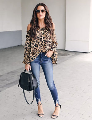 Women's Daily Street chic Blouse - Leopard Off Shoulder Brown - Debbie Carter Fashion HQ