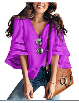 Women's Daily Blouse - Solid Colored V Neck Wine XXXL / Flare Sleeve - Debbie Carter Fashion HQ