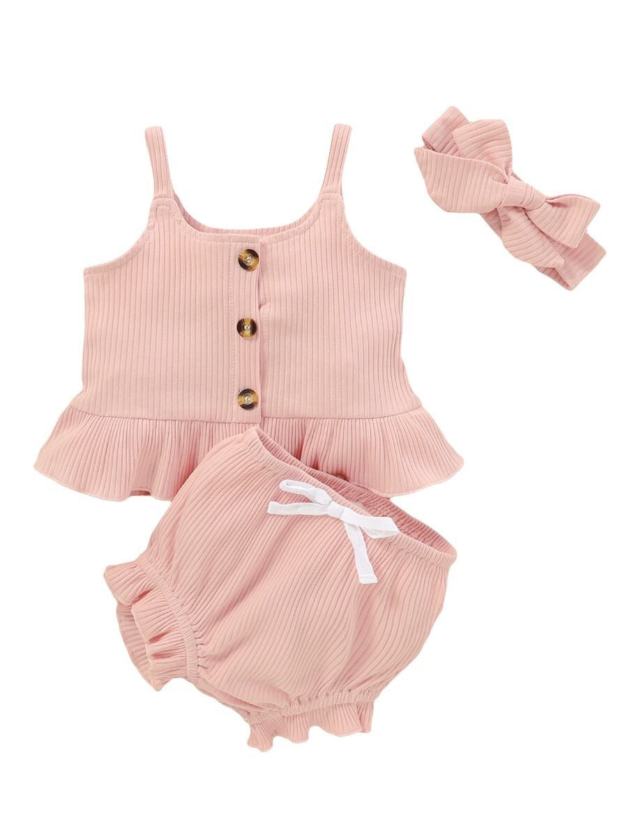 Ribbed Flutter Set - Pink