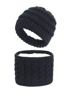 Black Extra Warm Fleece Hat Scarf Set