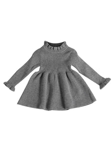 Grey Ribbed Knit Dress