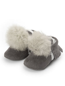 Grey Pom Pom Soft Sole Shoe