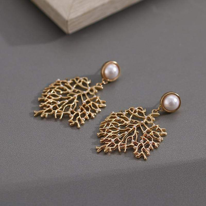 Yellow Summer Gold Coral Earrings