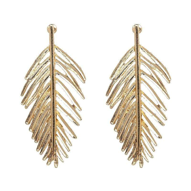 Yellow Summer Palm Leaf Earrings