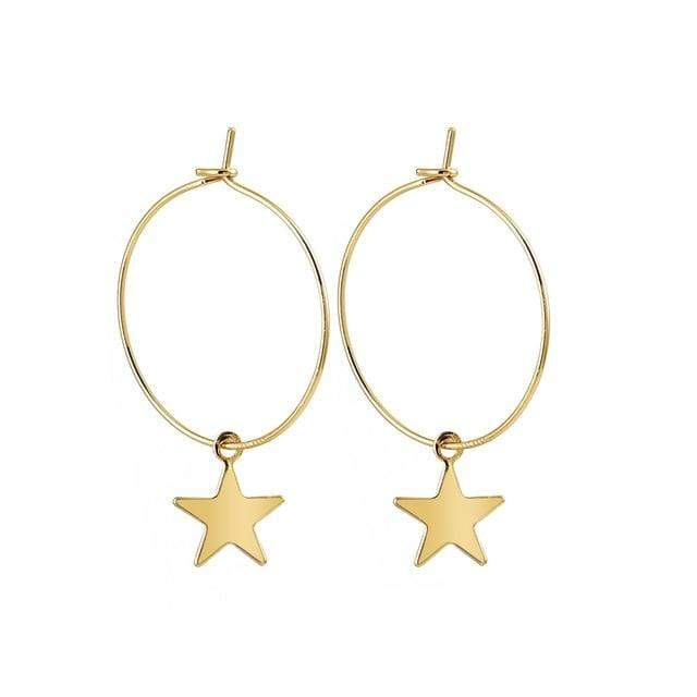 yellowsummer Hoop Star Earrings