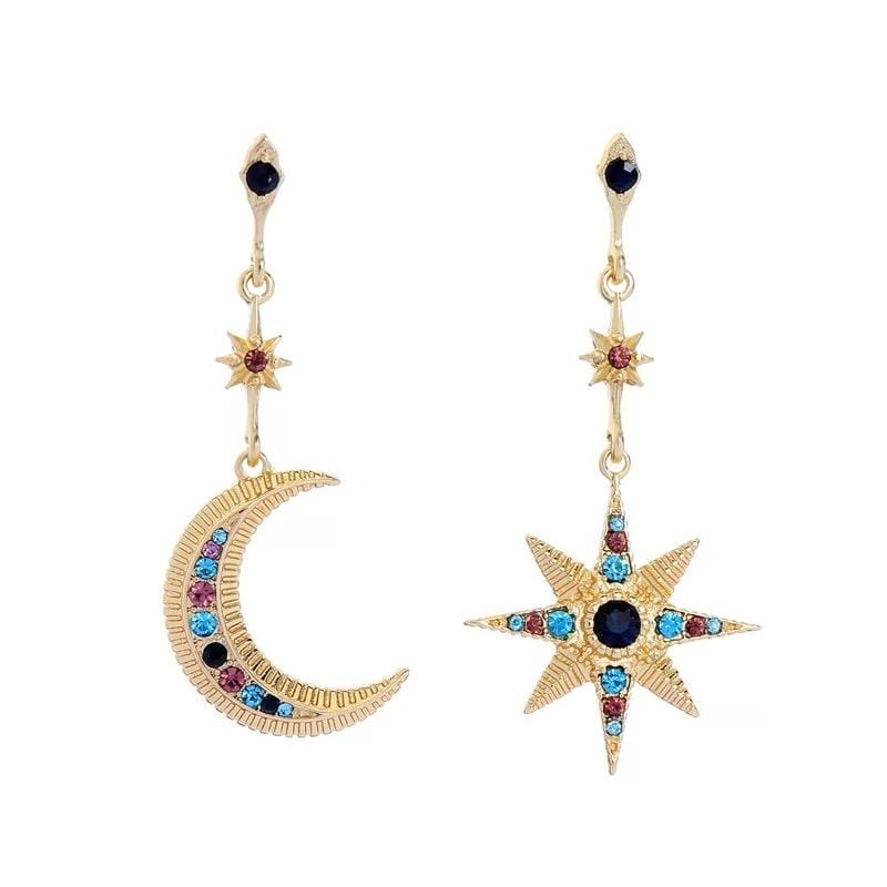 yellowsummer Mismatched Moon and Star Earrings
