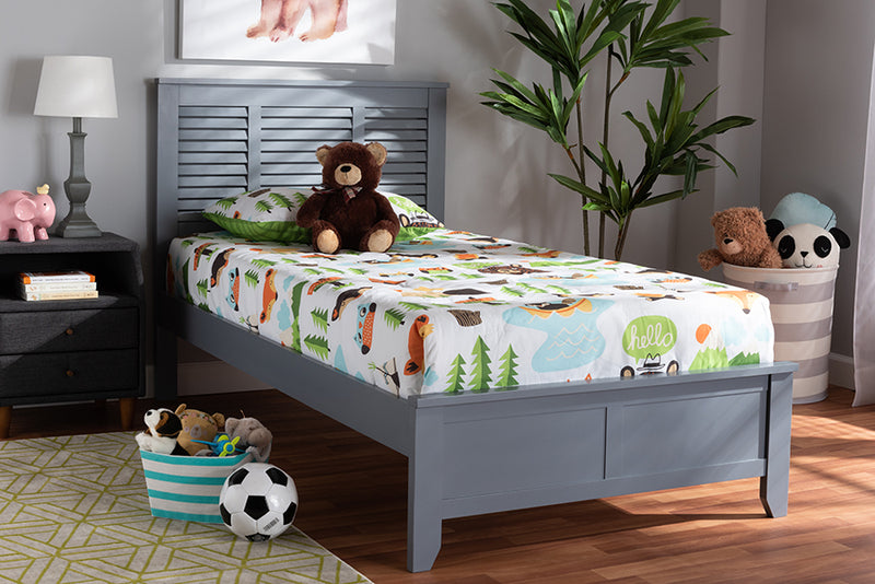 Baxton Studio Adela Modern and Contemporary Grey Finished Wood Twin Size Platform Bed