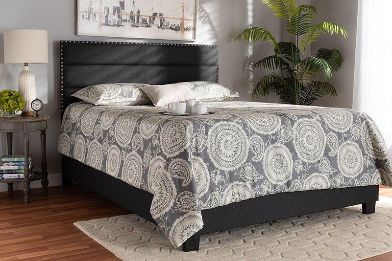Baxton Studio Ansa Modern and Contemporary Dark Grey Fabric Upholstered Queen Size Bed