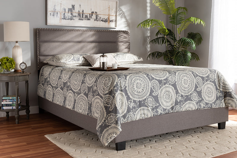 Baxton Studio Ansa Modern and Contemporary Grey Fabric Upholstered Full Size Bed