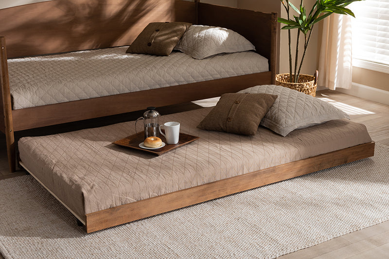 Baxton Studio Veles Modern and Contemporary Ash Walnut Finished Twin Size Trundle Bed