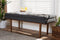 Baxton Studio Arne Mid-Century Modern Dark Grey Fabric Upholstered Walnut Finished Bench