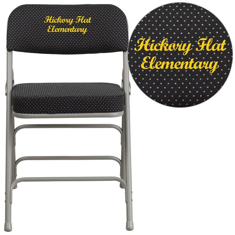 Flash Furniture AW-MC320AF-BK-EMB-GG Embroidered HERCULES Series Premium Curved Triple Braced & Double-Hinged Black Pin-Dot Fabric Metal Folding Chair