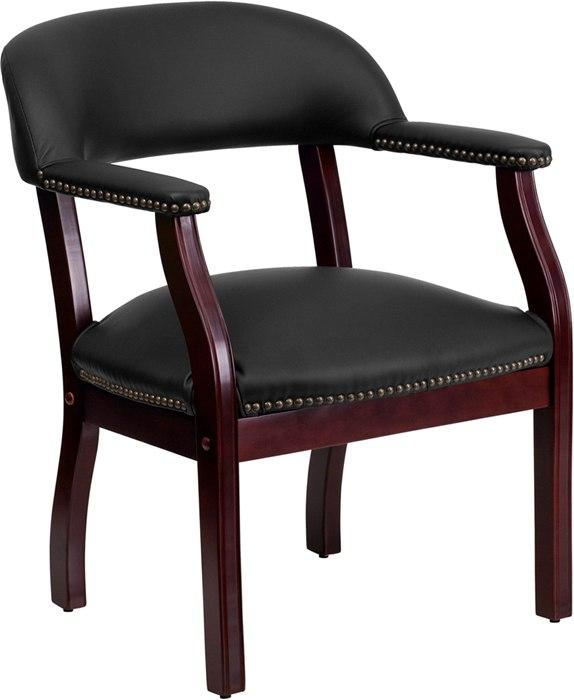 Flash Furniture B-Z105-LF-0005-BK-LEA-GG Black Top Grain Leather Conference Chair with Accent Nail Trim