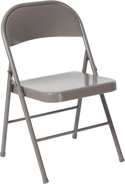 Flash Furniture BD-F002-GY-GG HERCULES Series Double Braced Gray Metal Folding Chair