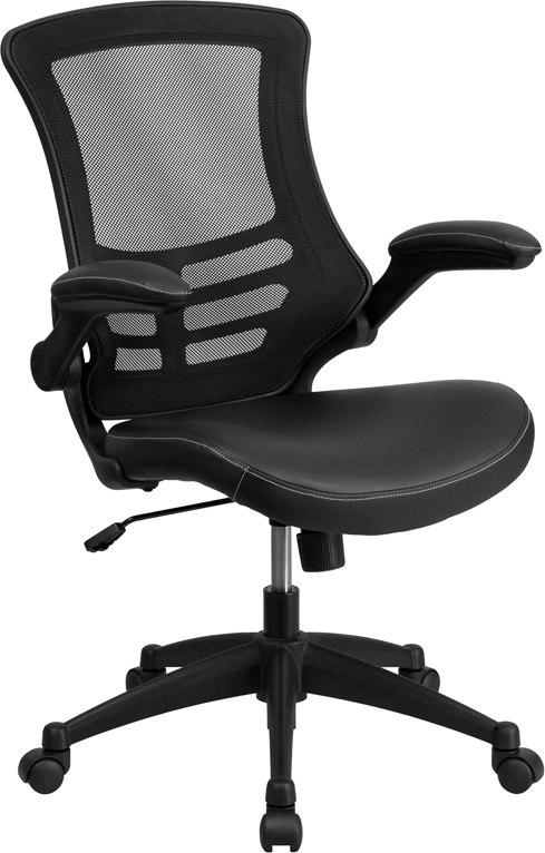 Flash Furniture BL-X-5M-LEA-GG Mid-Back Black Mesh Swivel Task Chair with Leather Seat and Flip-Up Arms