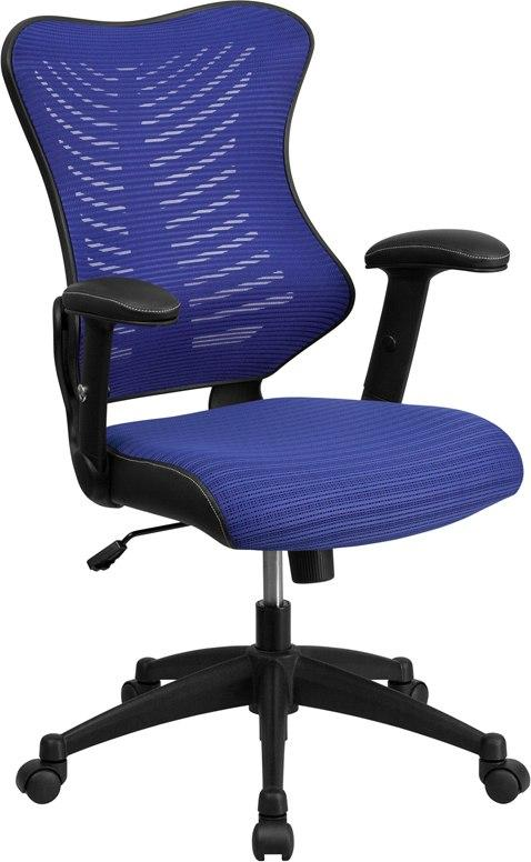 Flash Furniture BL-ZP-806-BL-GG High Back Designer Blue Mesh Executive Swivel Chair with Adjustable Arms