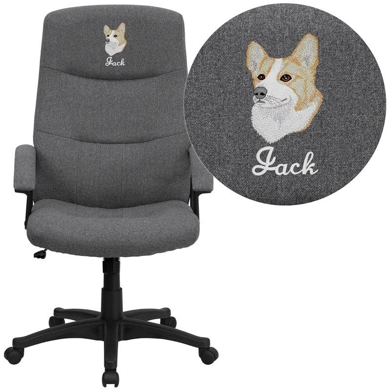 Flash Furniture BT-134A-GY-EMB-GG Embroidered High Back Gray Fabric Executive Swivel Chair with Arms