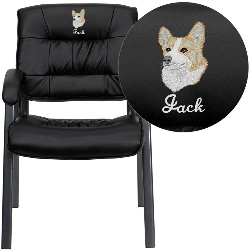 Flash Furniture BT-1404-BKGY-EMB-GG Embroidered Black Leather Executive Side Reception Chair with Titanium Frame Finish