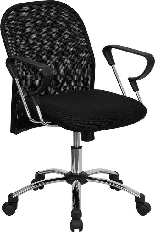 Flash Furniture BT-215-GG Mid-Back Black Mesh Swivel Task Chair with Chrome Base and Arms