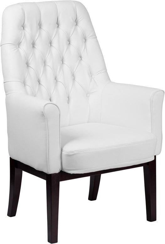 Flash Furniture BT-444-SD-WH-GG High Back Traditional Tufted White Leather Side Reception Chair