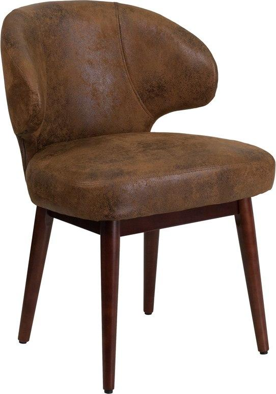 Flash Furniture BT-5-BOM-GG Comfort Back Series Bomber Jacket Microfiber Side Reception Chair with Walnut Legs