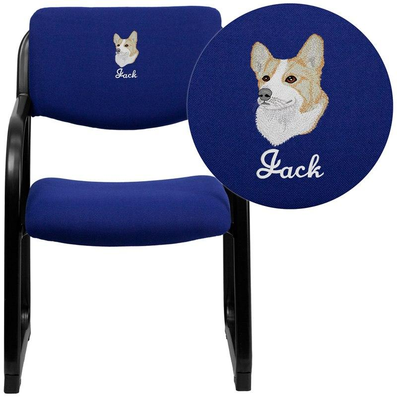 Flash Furniture BT-508-NVY-EMB-GG Embroidered Navy Fabric Executive Side Reception Chair with Sled Base