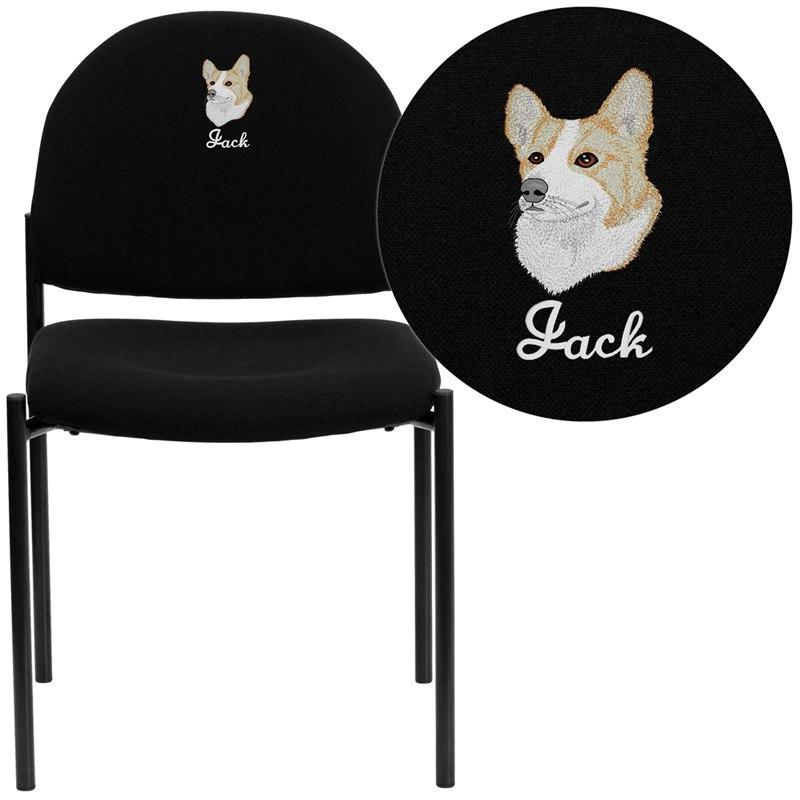 Flash Furniture BT-515-1-BK-EMB-GG Embroidered Comfort Black Fabric Stackable Steel Side Reception Chair