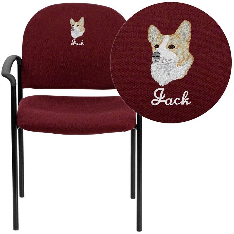 Flash Furniture BT-516-1-BY-EMB-GG Embroidered Comfort Burgundy Fabric Stackable Steel Side Reception Chair with Arms