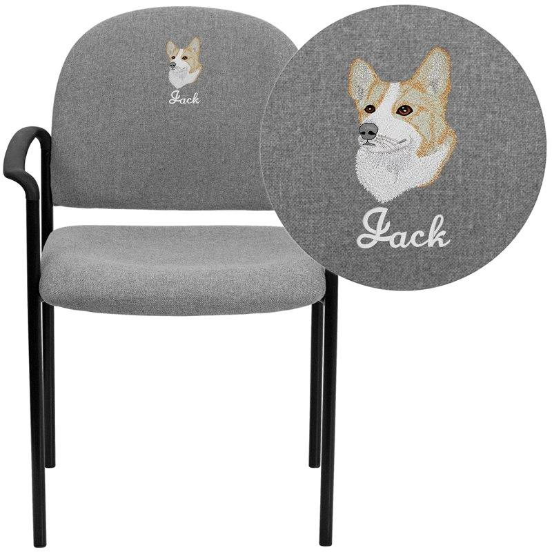 Flash Furniture BT-516-1-GY-EMB-GG Embroidered Comfort Gray Fabric Stackable Steel Side Reception Chair with Arms