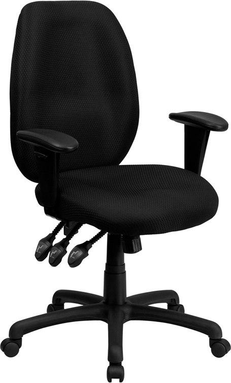Flash Furniture BT-6191H-BK-GG High Back Black Fabric Multifunction Ergonomic Executive Swivel Chair with Adjustable Arms