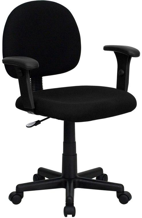 Flash Furniture BT-660-1-BK-GG Mid-Back Black Fabric Swivel Task Chair with Adjustable Arms