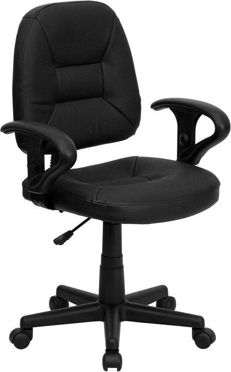 Flash Furniture BT-682-BK-GG Mid-Back Black Leather Ergonomic Swivel Task Chair with Adjustable Arms