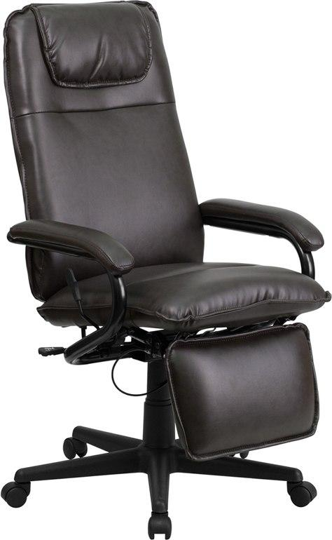 Flash Furniture BT-70172-BN-GG High Back Brown Leather Executive Reclining Swivel Chair with Arms