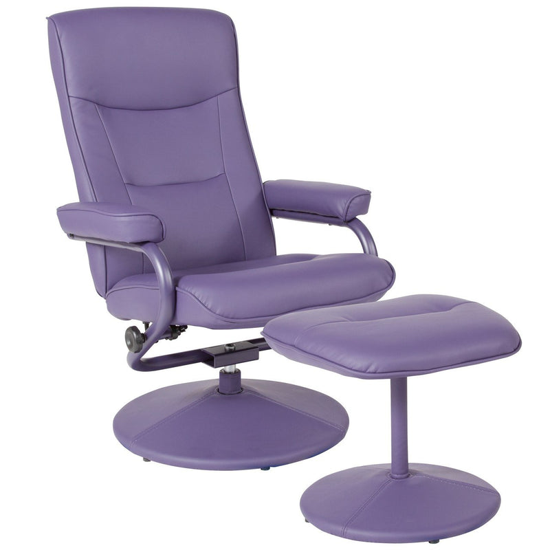 Flash Furniture BT-70621-PUR-GG Chelsea Contemporary Recliner and Ottoman in Purple Vinyl