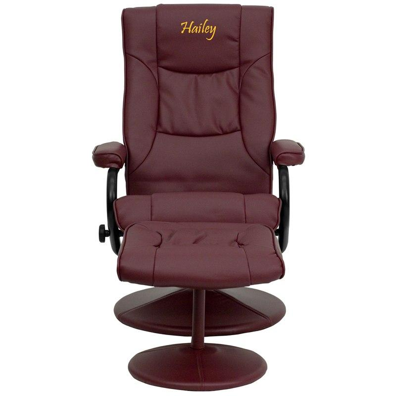 Flash Furniture BT-7862-BURG-TXTEMB-GG Personalized Contemporary Burgundy Leather Recliner and Ottoman with Leather Wrapped Base