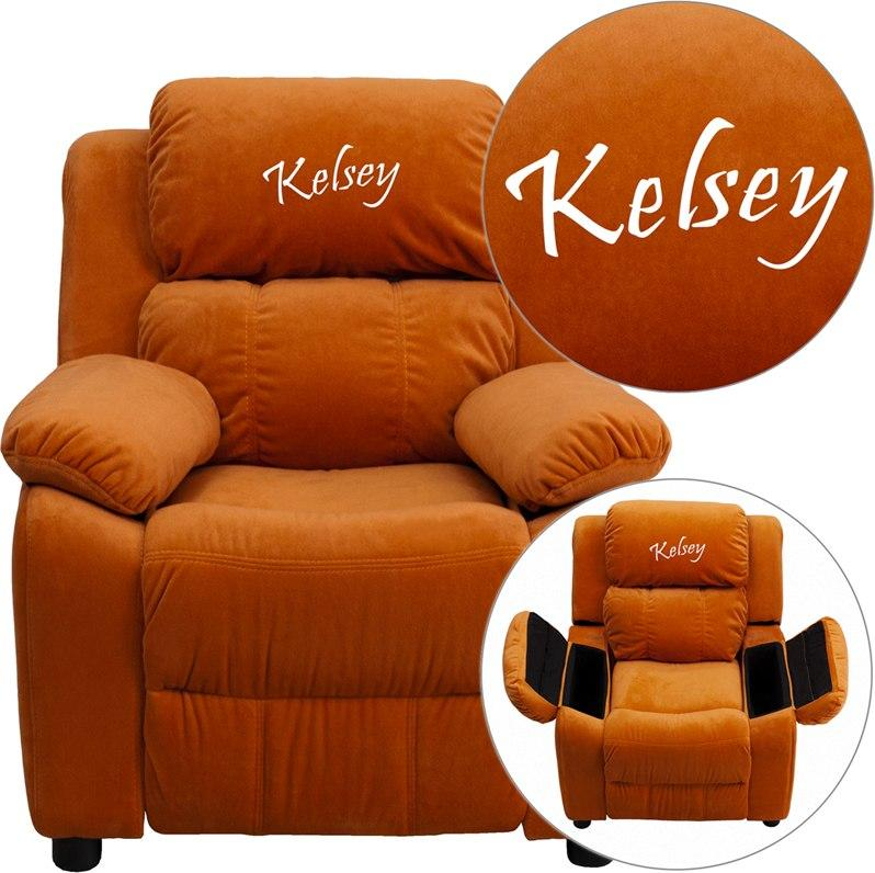 Flash Furniture BT-7985-KID-MIC-ORG-EMB-GG Personalized Deluxe Padded Orange Microfiber Kids Recliner with Storage Arms