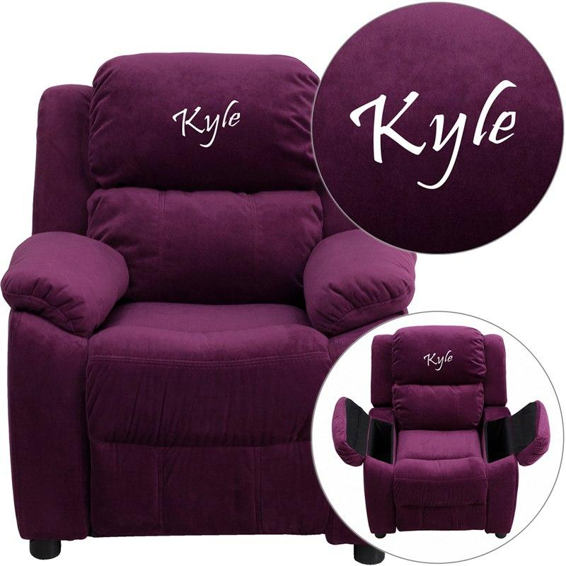 Flash Furniture BT-7985-KID-MIC-PUR-TXTEMB-GG Personalized Deluxe Padded Purple Microfiber Kids Recliner with Storage Arms